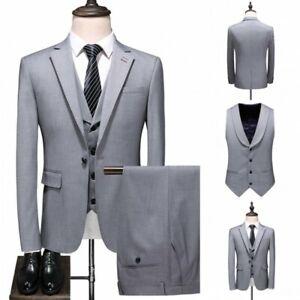 Men's Oen Button Suit 3pcs British style Business Slim Fit Formal Dress Blazer L