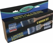 5pce Axus Decor Angled Pro Cutter & Pro Brush Synthetic Blue Paint Brush Set