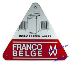 Ancienne plaque émaillée CHAUFFAGE RADIATEUR en fonte émail triangulaire ancien
