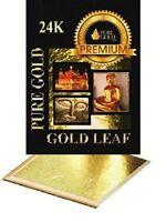 10 x 24K Gold Leaf Sheets. Art Crafts Design Gilding Framing  8 CM x 8 CM
