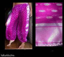 Harem Pants Belly Dance Sari Chiffon Magenta w/ Silver Slit