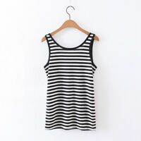 New Women's Tank Top Casual 100% cotton striped beach vest Top basic Tee
