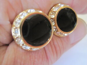 New Round Onyx and Rhinestone Cufflinks with Lots of Bling!  (Style 2)