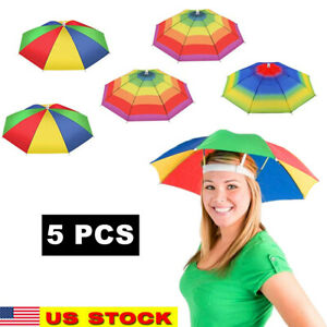5x Outdoor Foldable Sun Umbrella Hat Golf Fishing Camping Headwear Cap Head Hat