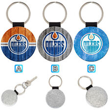 Edmonton Oilers Sporty Leather Glitter Key Chain Keyring Car Ring Silve