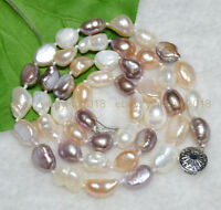 Long 25 Inches Natural 9-10mm Baroque Multi-colored Freshwater Pearl Necklaces