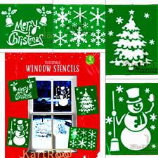 New 4x WINDOW STENCIL Snowflake Snowman Merry Christmas Xmas Tree Size (23x18)cm