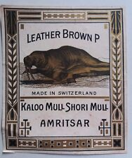 INDIA VINTAGE TREAD MILL LABEL- LEATHER BROWN P  /SIZE -4.5X4 INCH