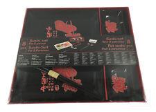 Sushi Set 8 teilig Teller Geschirr Besteck Stäbchen Porzellan schwarz+lotus Nr.2
