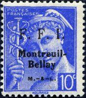 FRANCE LIBÉRATION MONTREUIL-BELLAY N° 29M NEUF** Texte Patriotique sur le Timbre