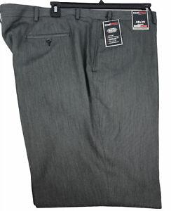 Roundtree Yorke Travel Smart Twill Mens Grey Dress Pants 48X29 Classic Fit Flat