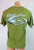 Vtg 90s QUIKSILVER 2-sided Surf Skate T-shirt Sz M Olive Green USA MADE