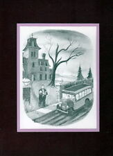 Chas Addams ADDAMS FAMILY - 'SOME RESISTENCE TO SCHOOL' MATTED PRINT Lurch
