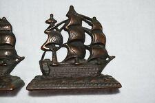 """Vintage Cast Iron Bookends Constitution Ship 5""""x5"""" Nautical Decor Estate Felt"""