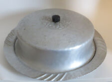 """Vtg Hand Forged Aluminum Cake Plate with Lid Top Floral 11"""" Hammered"""