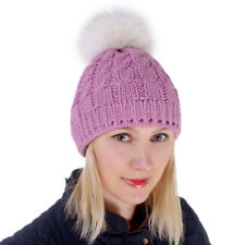 2eaf14a3cfd Pink Wool Hat With White Fox Fur Pom Pom! Beanie Winter Cap Bobble Hat Ski