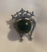 Small Scottish Thistle Crown heart silvertone Brooch Celtic Clan Pin Kilt Lapel