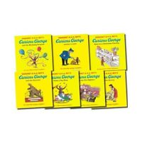 Curious George 7 Books Collection Set By Margret Rey Gift Pack, Visits a Library