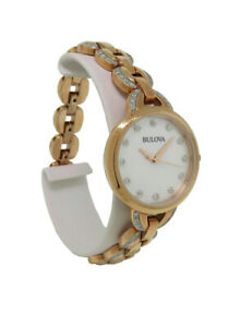 Bulova 98L207 Women's Round Analog Mother of Pearl Clear Stone Stainless Watch
