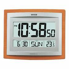 ID-15S-5D CASIO WALL CLOCK TEMPERATURE ALARM DIGITAL WOOD AUTO CALENDER