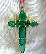 6.10ct natural emeralds diamond cross 18kt