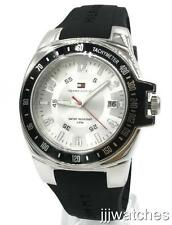 New Tommy Hilfiger Black Rubber Tachymeter Date Men Mid-Size Watch 44mm 1790485