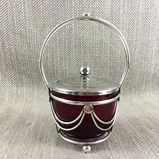 Antique Confiture Préserver Pot pot de miel verre & argent plaque Rouge canneberge
