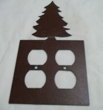 Pine Tree Rustic Metal Double Outlet Cover Decoration Lodge Cabin Wilderness
