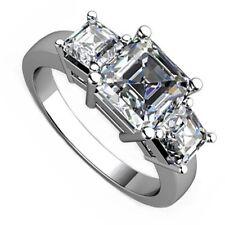 18kt I VS 2.00ct Three-Stone Asscher Cut Diamond Engagement Ring