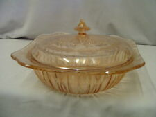 """Adam Covered Pink Bowl By Jeannette 9"""" Across 4.5"""" Tall To Knob Vintage"""