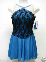 ICE SKATING DRESS Competition Figure Skate Outfit w Crystals & Hair Scrunchie S