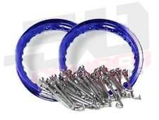 """Heavy Duty Spoke kit/w Rim Aluminum Wheels Honda XR 50 CRF 50 pitbike 10"""" Blu"""
