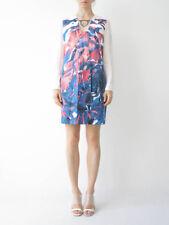 HOF115: COS Kleid tiefausschnitt muster / Deep neck printed dress silk 34 UK 8