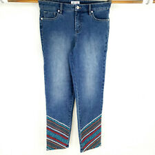 Denim & Co. Women's Jeans Sz 8 Stretch High Rise Embroidered Stretch Straight