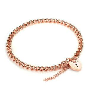 9ct Rose Gold Heart Padlock Charm Bracelet 10 Grams