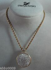 Signed Swan Swarovski Pave Round Disco Ball Pendant Necklace