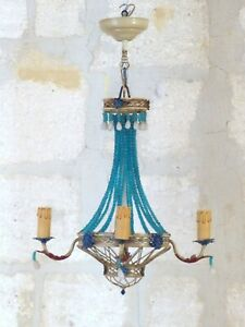 1950 Gorgeous French Chandelier Ceiling Opaline Blue Beaded Vintage Basket RARE