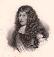 Portrait XIXe Louis II de Bourbon Condé Le Grand Condé Lithographie 1833
