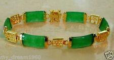 "Natural Emerald Green Jade Gold Fortune Longevity Luck Link Bracelet 7.5"""
