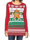 Ugly Christmas Sweater Women's Light Up Gingerbread Man Cayenne Large
