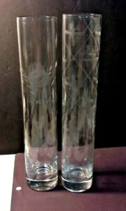 "Lot of 2 Clear Crystal Etched Cylinder Vases - 10"" tall - lot of 2 weighted base"