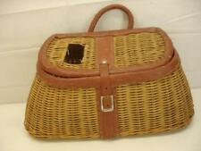 Vintage Fishing Angler Creel Basket Wicker Leather Trim Buckle Tape Measure Top