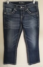 Womens Silver Jeans Aiko Capri Bold Stitch Size 26 Blue Medium Wash Embroidered