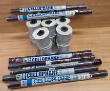 Lot Christmas Gift Wrapping Supplies Red Cellophane & 16 Spools Silver Ribbon