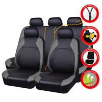 Universal Car Seat Covers Airbag PU Leather 11 pcs Grey Black For SUV VAN Sedan