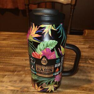 TAL 40oz Black Tropical Hawaiian BASIN Outdoors Water Hydration Bottle Mug NWT