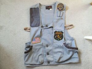 Vtg 60's 10X Sporting Gray Clay Shooting Vest Skeet Trap Sz 38 Made In U.S.A.