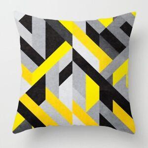 Nordic Yellow Geometric Pillow Case Sofa Waist Throw Cushion Cover Home Decor