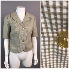 Vintage 1960s Tan White Gingham Seersucker Cropped Blazer Jacket Blouse Top S