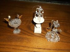 LOT OF 3 SMALL BLOWN GLASS FIGURES FOUNTAIN,BIRDBATH,WELL PUMP